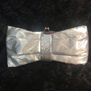 Kate Landry silver metallic bow clutch purse